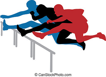 Hurdle race - Abstract vector illustration of hurdle race
