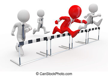 Hurdle race - Businessmen in a hurdle race with the leader ...