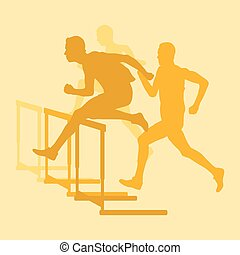 Hurdle race man jumping over obstacle retro color vector