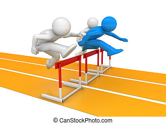 Hurdle race - 3d isolated on white background characters,...