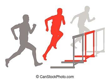 Hurdle racer barrier running vector