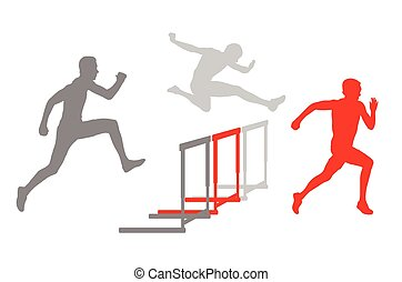 Hurdle racer barrier running vector