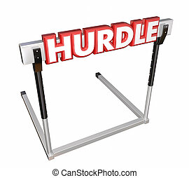 Hurdle Word 3d Red Letters Obstacle Overcome Challenge