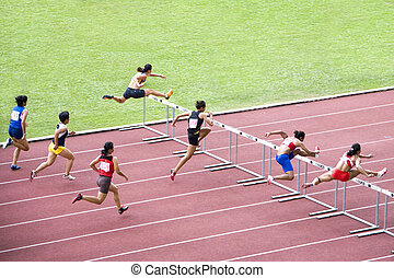Hurdlers in Action
