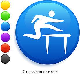 hurdles icon on round internet button