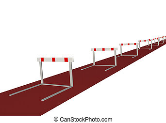 Image of many hurtles on a track isolated on a white background.