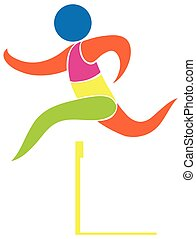 Hurdles running icon in colors