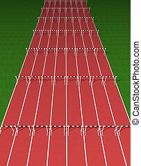 Illustration of empty tartan hurdles track