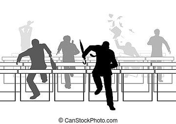Hurdling businessmen