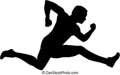hurdling, silhouette, man