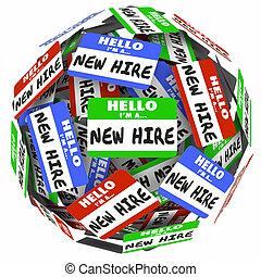huren, nieuw, bol, fris, groep, label, bal, naam, werknemers, werkmannen
