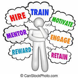 huren, wolken, motiveren, gedachte, denker, trein, reserveren, belonen