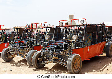 Parking for buggy - HURGHADA, EGYPT - MAY 18, 2015: Parking...