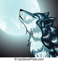 hurlement, tête, loup