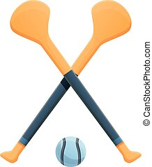 Hurling crossed sticks icon. Cartoon of hurling crossed sticks vector icon for web design isolated on white background