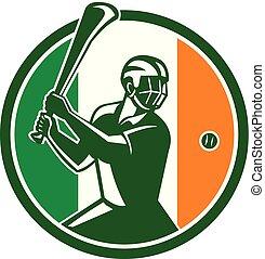 Hurling Ireland Flag Icon - Icon retro style illustration of...