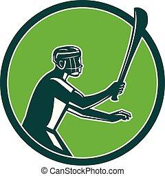 Hurling Player Icon Retro - Retro style illustration of a...
