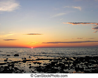 huron., 日落, 湖