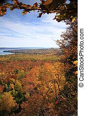 Huron lake in the fall