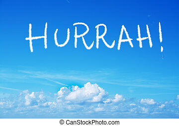 hurrah written in the sky with an airplane