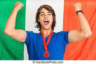 hurrarufen, italienesche, fächer, sport