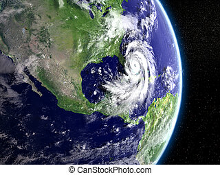 Hurricane above Florida - Disastrous hurricane Matthew ...