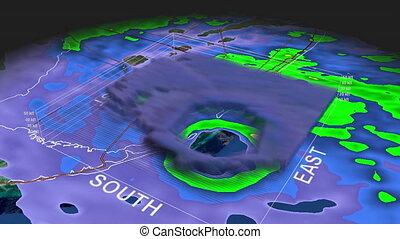 Hurricane Andrew Eye 3D Radar - Hurricane Andrew Landfall....