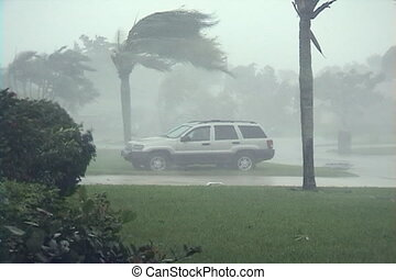 Hurricane winds blowing dangerous debris through the air.