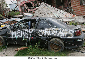 Hurricane Damage #2 - Car damaged by hurricane Katrina...