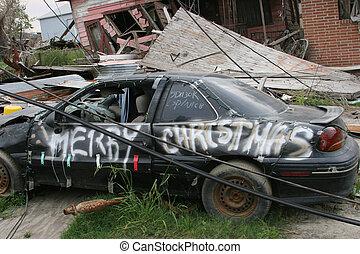 Hurricane Damage #2 - Car damaged by hurricane Katrina...