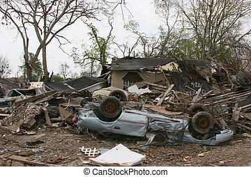 Hurricane Damage - A car and house damaged by Hurricane...