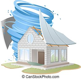 Hurricane destroyed roof of house. Illustration in vector format