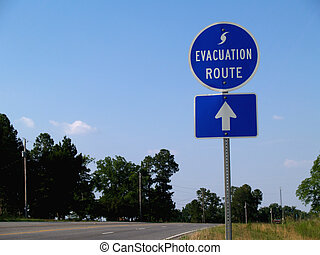 Hurricane Evacuation Route Sign - Blue hurricane evacuation...