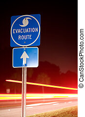 Hurricane Evacuation Route - Speeding cars flee an impending...