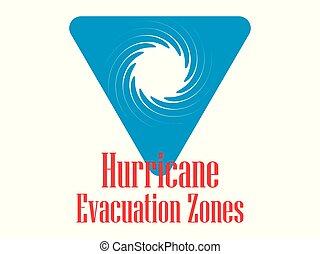 Hurricane Evacuation Zone. Warning road sign, isolated blue triangle. Vector illustration