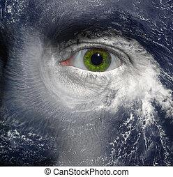 Hurricane eye - A green eye in the middle of a hurricane