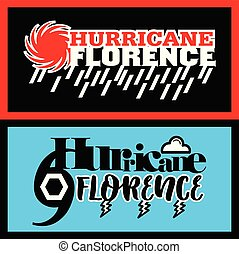 Hurricane Florence label designs - Two abstract vector...