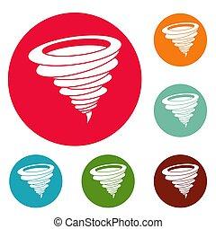 Hurricane icons circle set