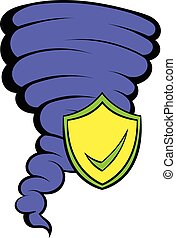 Hurricane insurance icon cartoon