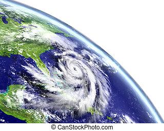 Hurricane Matthew in Caribbean - Eye of hurricane Matthew...
