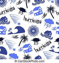 hurricane natural disaster problem icons seamless pattern...