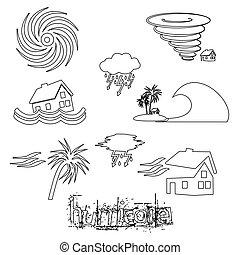 hurricane natural disaster problem outline icons set eps10