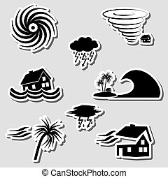 hurricane natural disaster problem stickers set eps10