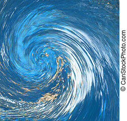 Hurricane or tornado abstract that suggests debris being pulled into the counter-clockwise vortex. Blur shows speed. From a photo of a natural spring.
