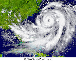 Hurricane over Florida and Cuba - Huge hurricane over...