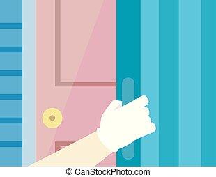 Hurricane Preparedness Door Shutter Illustration -...