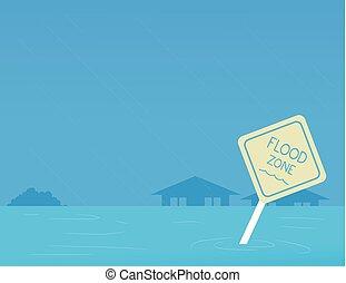 Hurricane Preparedness Flood Zone Illustration -...