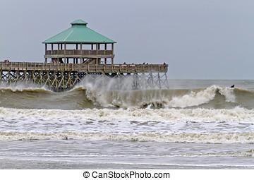 Hurricane Sandy and Storm Surge at Folly Beach - Hurricane...