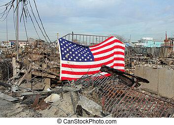 Hurricane Sandy destruction - BREEZY POINT, NY - NOVEMBER...