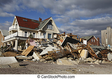 Hurricane Sandy destruction - FAR ROCKAWAY, NY - NOVEMBER 4...